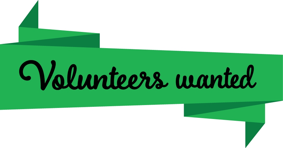 "Green banner with text ""Volunteers wanted"" in cursive style"